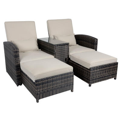 Antigua Rattan Wicker Reclining Sun Lounger Companion Set