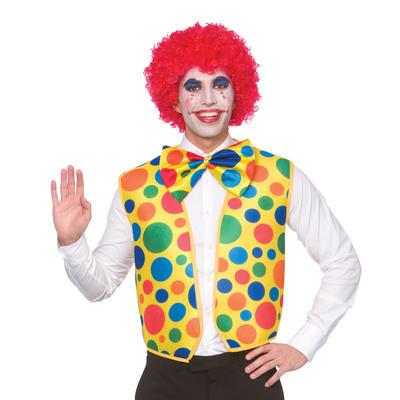 Adult Clown Waistcoat & Bowtie Fancy Dress Accessory Set
