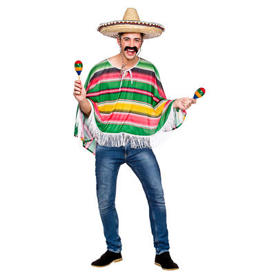 Adults Mexican Bandit Poncho Fancy Dress Costume