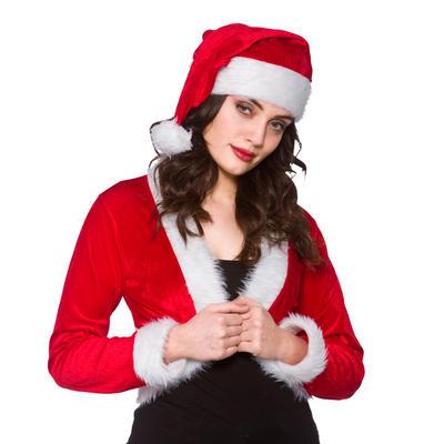 Ladies Cute Red Santa Shrug & Hat Fancy Dress Set