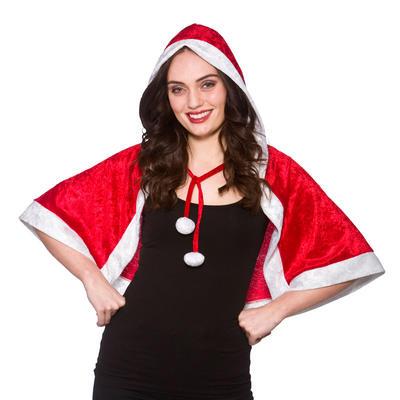 Ladies Red Santa Hooded Cape Christmas Fancy Dress Set