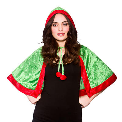 Adults Green and Red Elf Hooded Cape Facny Dress Costume
