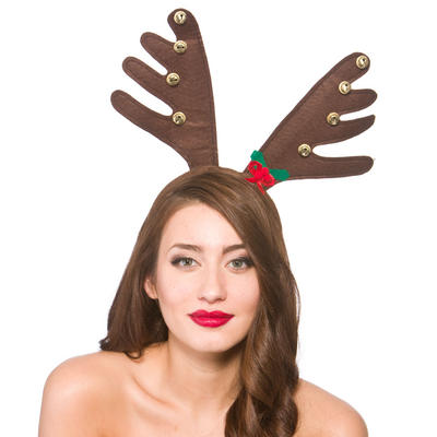 Deluxe Reindeers Antlers With Bells Christmas Fancy Dress Accessory