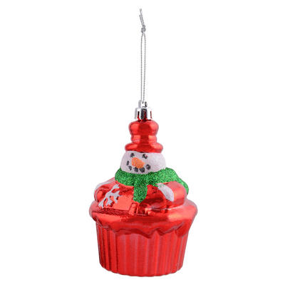 "Shiny Red Cup Cake With Glittery Snowman Hanging Christmas Tree Decoration 4""/10cm"