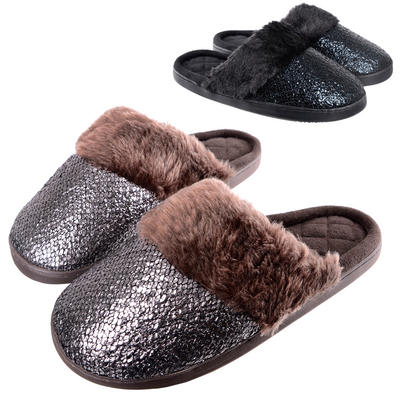 Ladies Coco Slip On Mule Slippers With Faux Fur Lining
