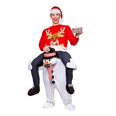 Adults Carry Me Snowman Fancy Dress Up Party Costume