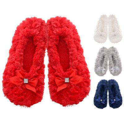 Ladies Darcey Ballet Faux Fur Slippers