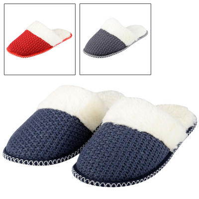 Womens Valentina Knitted Mule Slippers With Cosy Faux Fur Lining