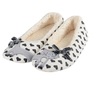 Womens Kitty Ballet Slippers Slip-On Plush Lining Heart Print