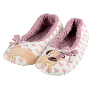 Womens Puppy Dog Ballet Slippers Cosy Faux Fur Heart Print