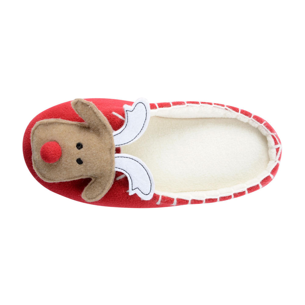 Womens rudolph reindeer christmas slippers classic mule style