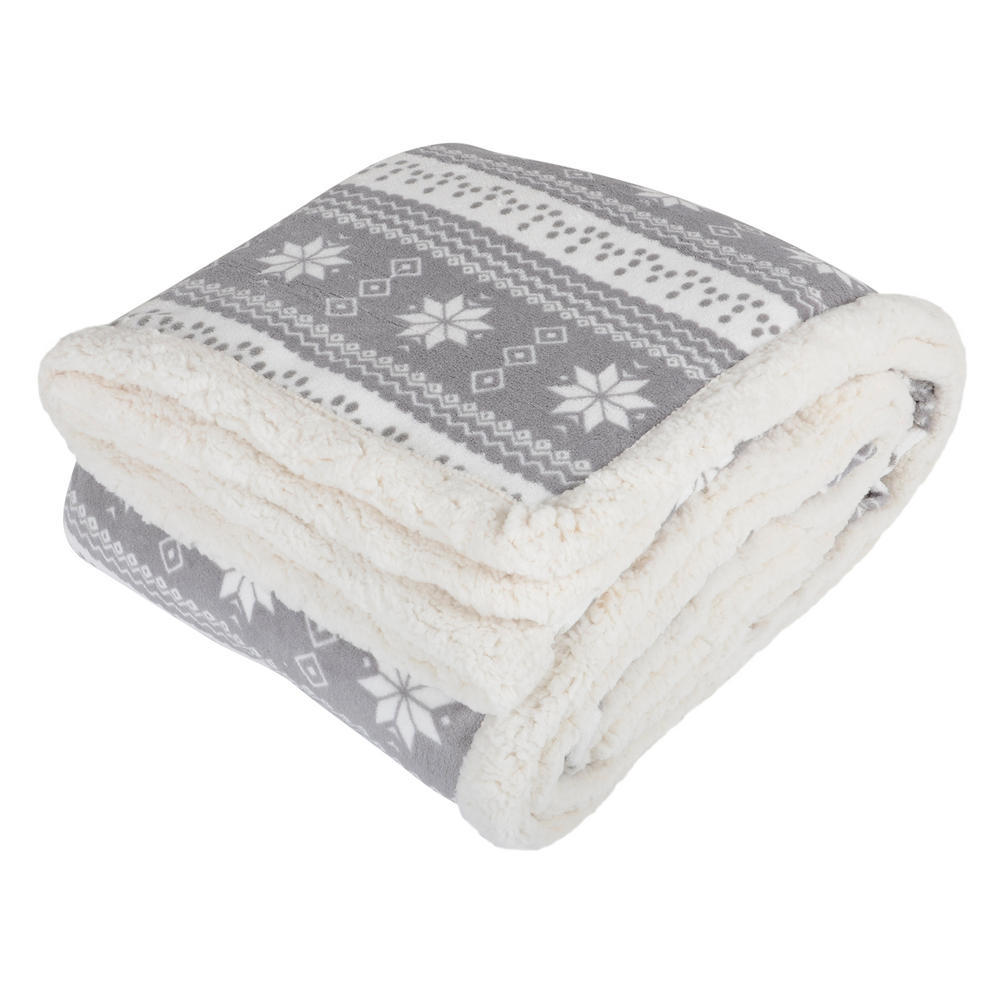 Snowflake design luxury fleece blanket soft sherpa throw for Soft blankets and throws