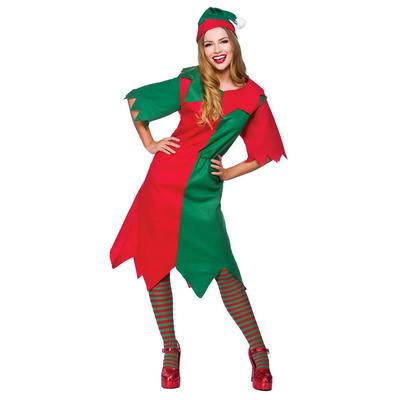 Ladies Budget Elf Lady Fancy Dress Costume