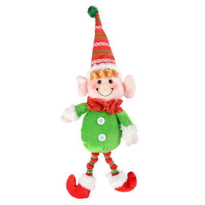 32cm Green & Red Elf Figure Christmas Decoration
