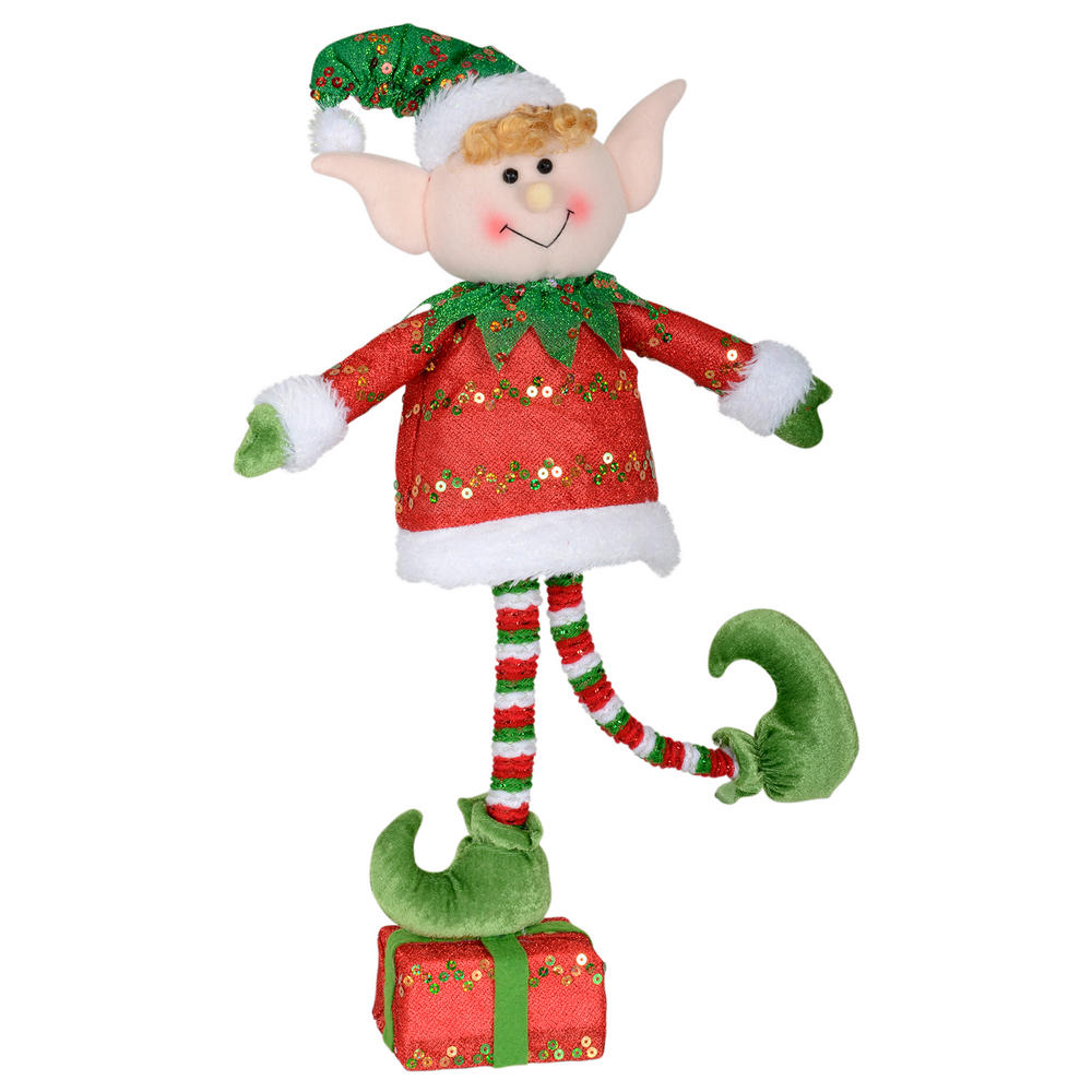 45cm Red Elf Figure Decoration Standing On Christmas Present