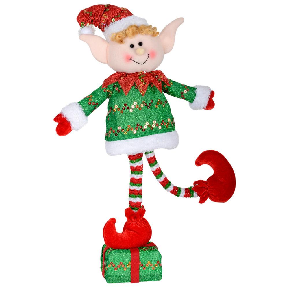45cm Green Elf Figure Decoration Standing On Christmas Present