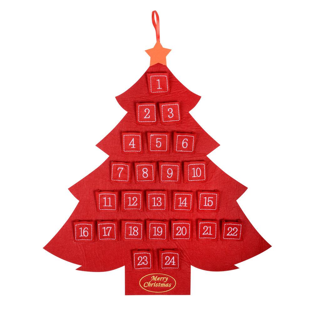 Felt Christmas Tree Advent Calendar: 52cm Red Felt Christmas Tree Advent Calendar With Pockets