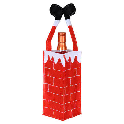 Felt Fabric Santa Chimney Christmas Xmas Wine Bottle Gift Bag Holder