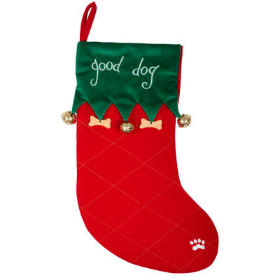 Good Dog Christmas Red & Green Fabric Pet Gift Stocking