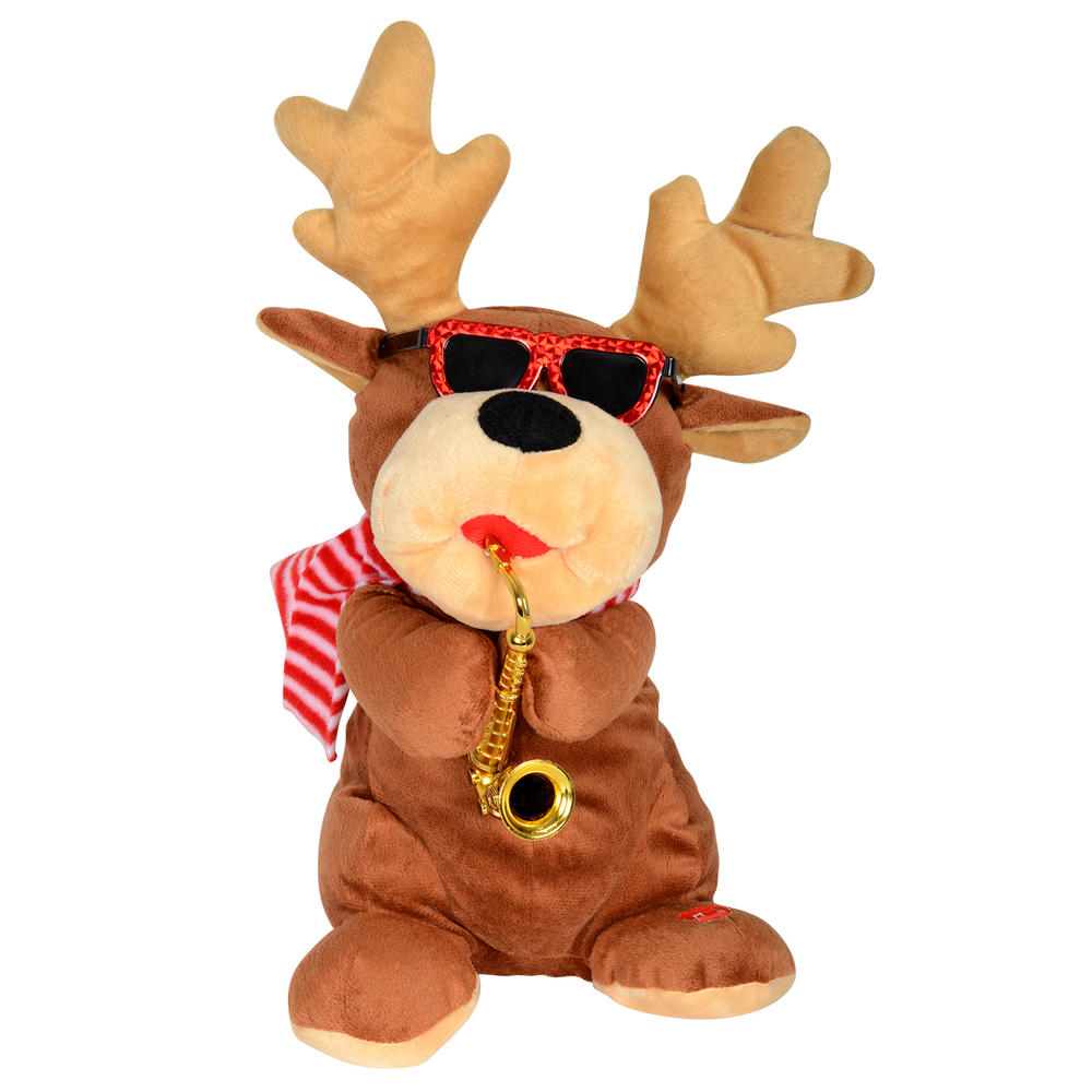 Animated musical plush reindeer with saxophone for Animation decoration noel