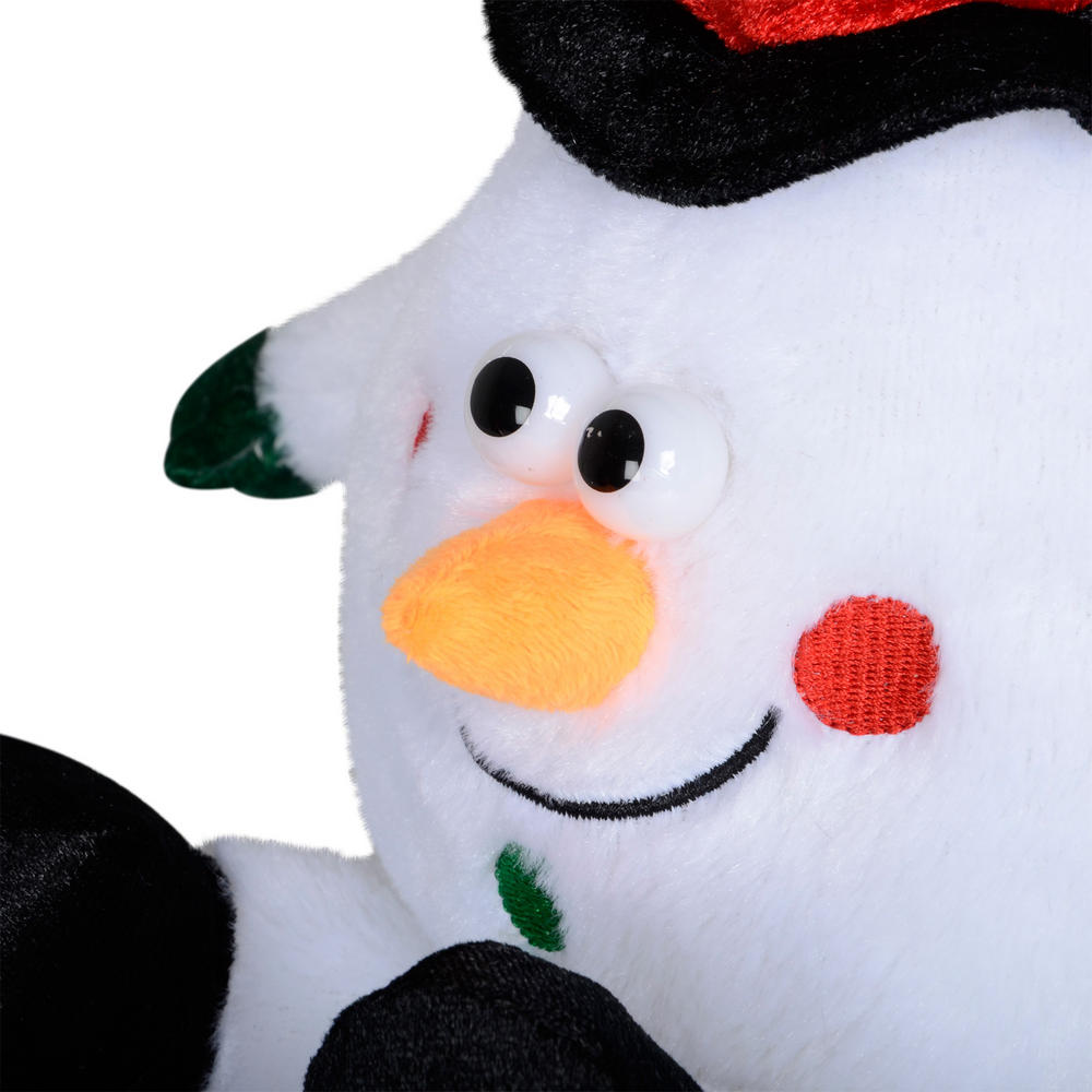 Animated laughing plush snowman christmas decoration for Animated snowman decoration