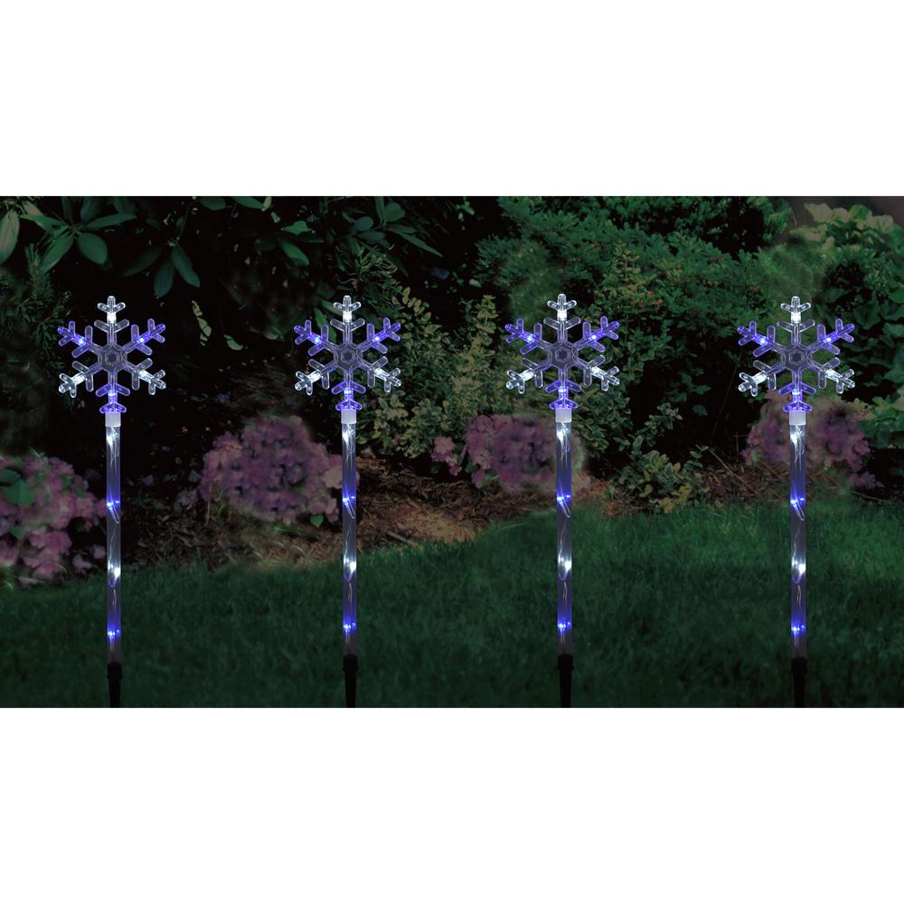 Set of 4 Blue & White LED Snowflake Garden Pathway Lights