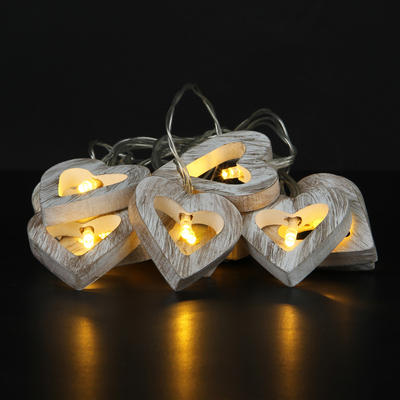 Set Of 10 Warm White LED Wooden Heart String Lights