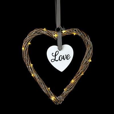 28cm Rattan Love Heart Decoration With 20 Warm White LED Lights