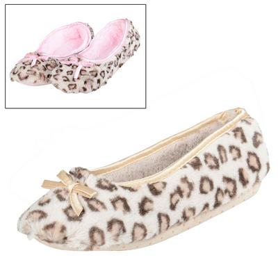 Ladies Leopard Print Plush Ballet Slippers