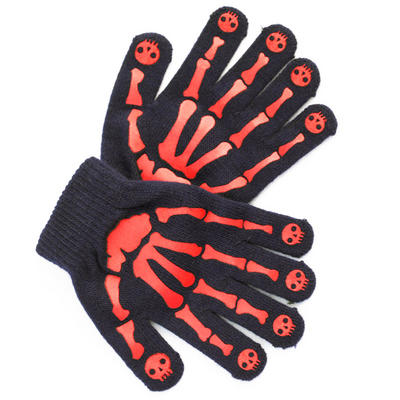 Childrens Magic Stretch Navy Gloves With Skeleton Hand Print Grip