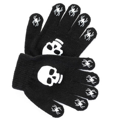 Childrens Magic Stretch Black Gloves With Skull & Spiders Print Grip