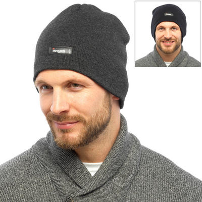 Mens Smooth Knit Double Layer Thinsulate Beanie Hat