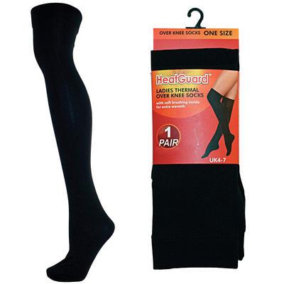 Ladies Black Thermal Over The Knee Socks 140 Denier