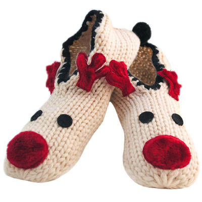 Ladies Cream Knit Rudolph The Reindeer Ballerina Slippers With Non-Skid Sole & Pompom