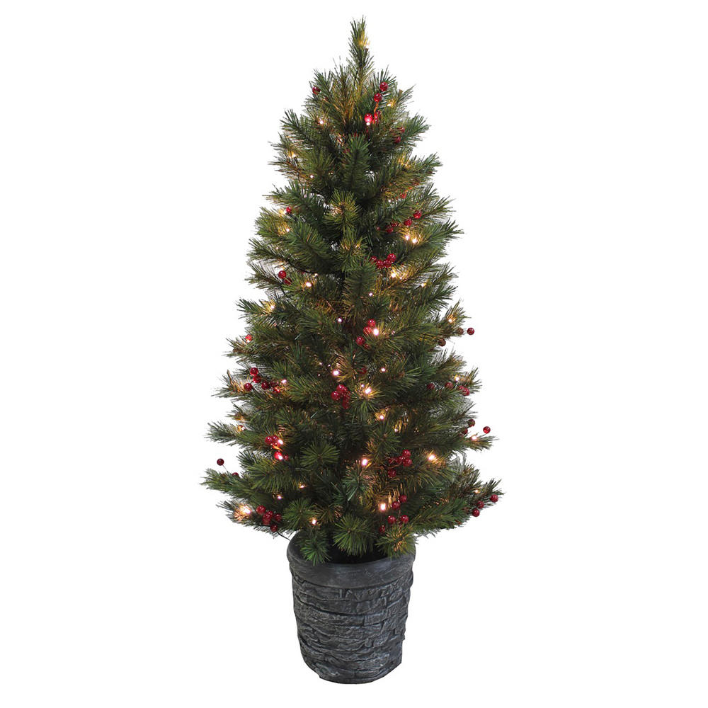 Ft pine pre lit artificial christmas tree with red berries