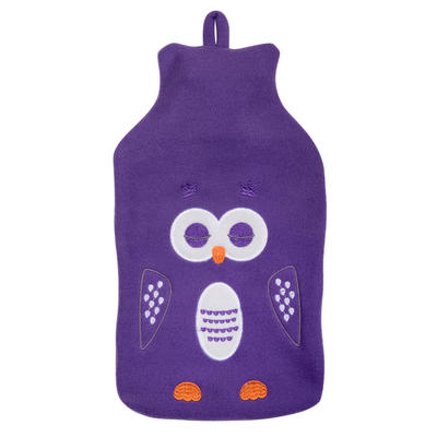 Hot Water Bottle With Removable Purple Owl Fleece Cover