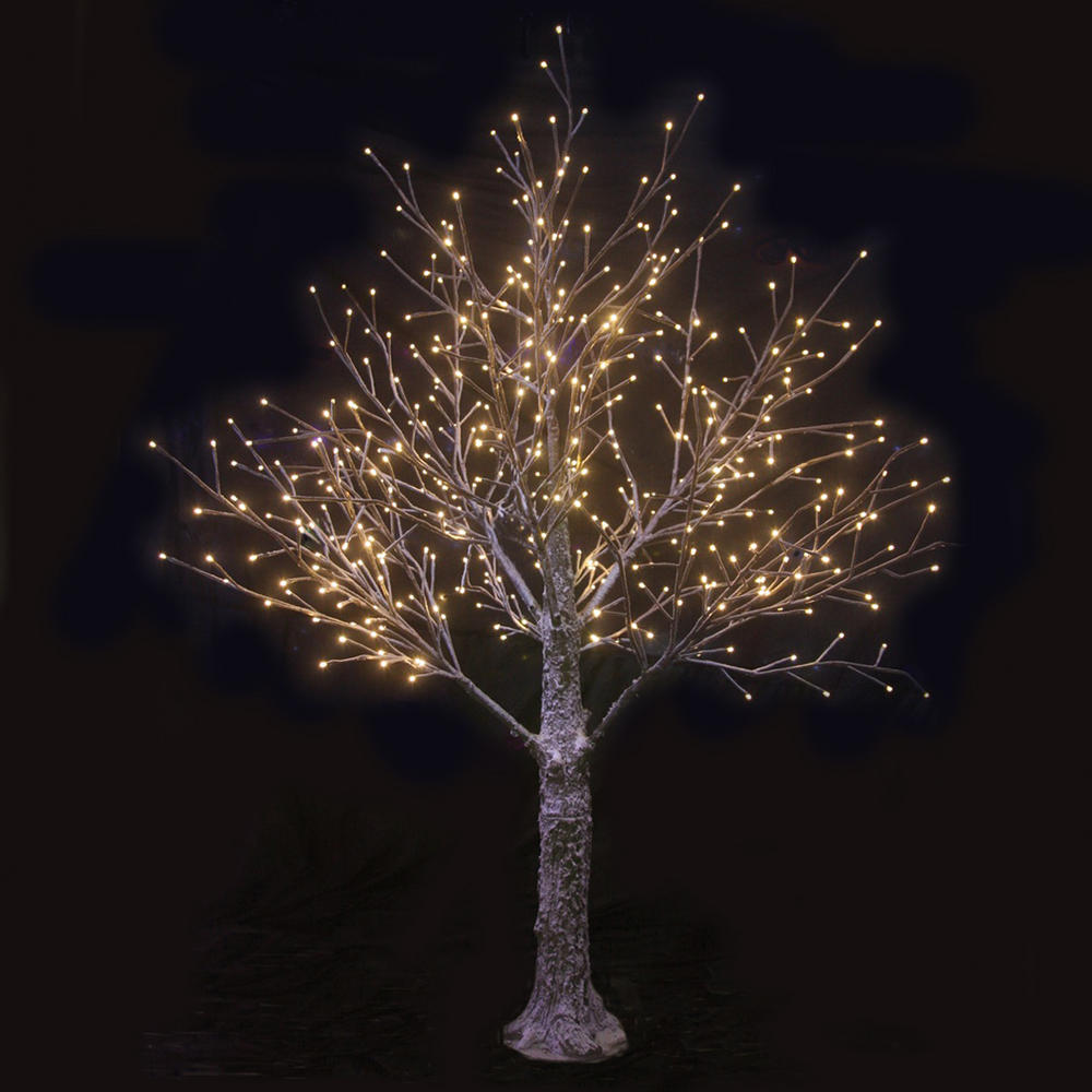 Brown snowy twig tree white led lights indoor outdoor for Led christmas decorations