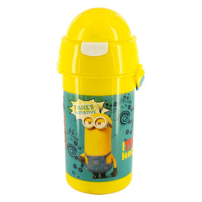 Minions Yellow Plastic Plush Top Water Bottle