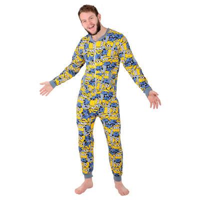 Mens Despicable Me Minion Sleepsuit Cotton Onesie Pyjamas PJs