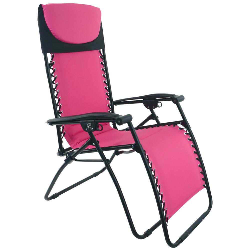 Azuma Zero Gravity Padded Reclining Garden Relaxer Sun Lounger Chair Seat Hot Pink