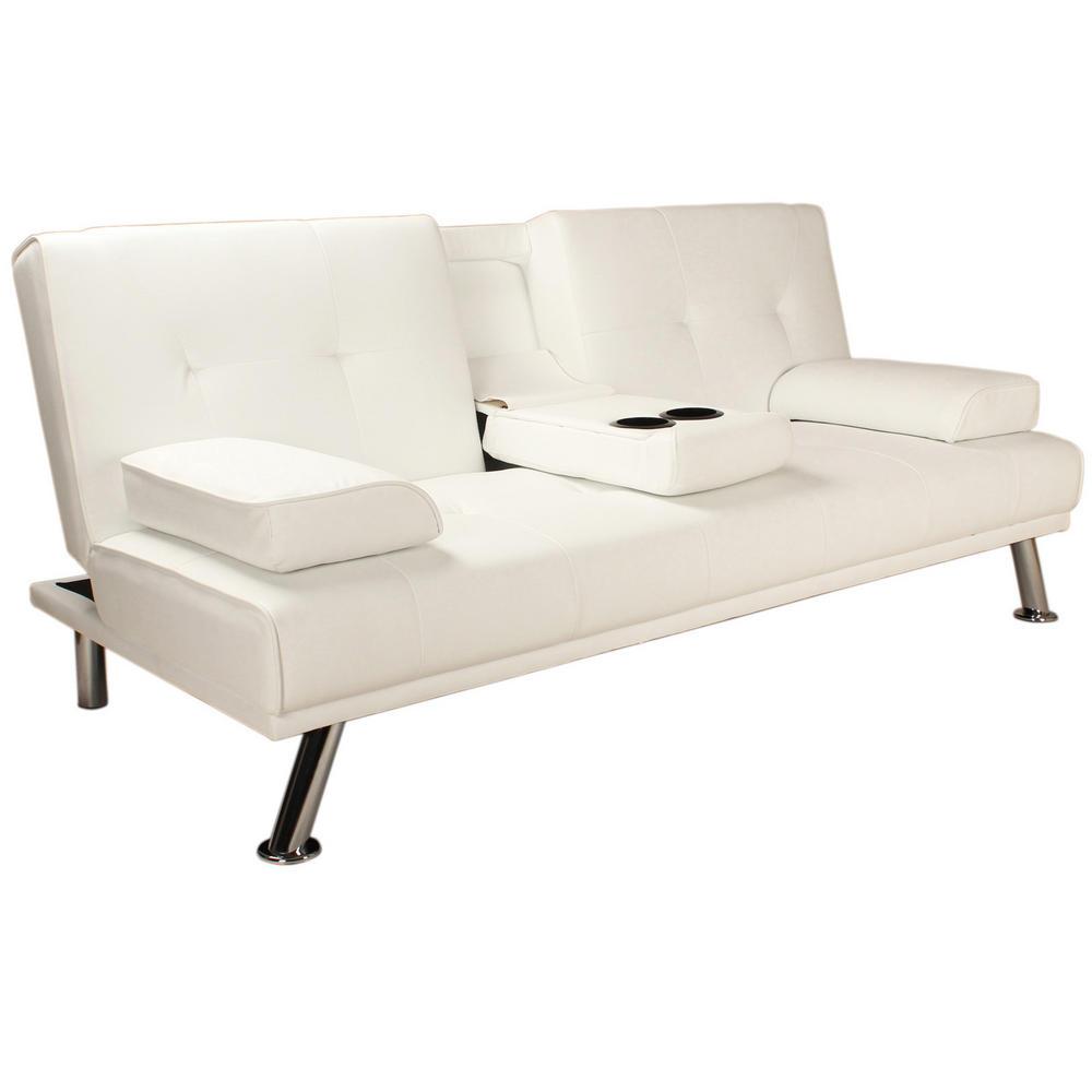 o White Faux Leather Folding Sofa Bed