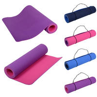 Yoga Mat Pilates Exercise Aerobics Fitness Gym 6mm Thick TPE