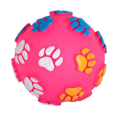 12cm Pink Vinyl Squeaky Ball Fetch Pet Dog Puppy Play Chew Toy