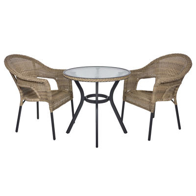 Havana Rattan Bistro 2-Seat Garden Furniture Table & Chairs Set