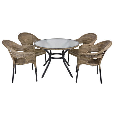 Havana Rattan Dining 4-Seat Garden Furniture Table & Chairs Set