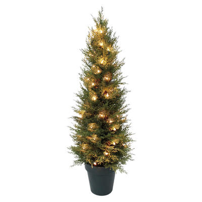3ft Tall Pre-Lit Christmas Tree Indoor Outdoor With Plastic Pot