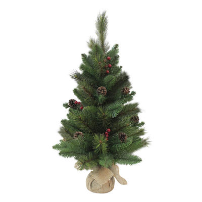 "Small Miniature 24"" 2ft Tall Artificial Christmas Tree Decorated"