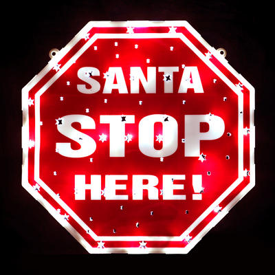 Santa Stop Here Sign Battery LED Double Sided Window Static / Flashing Light