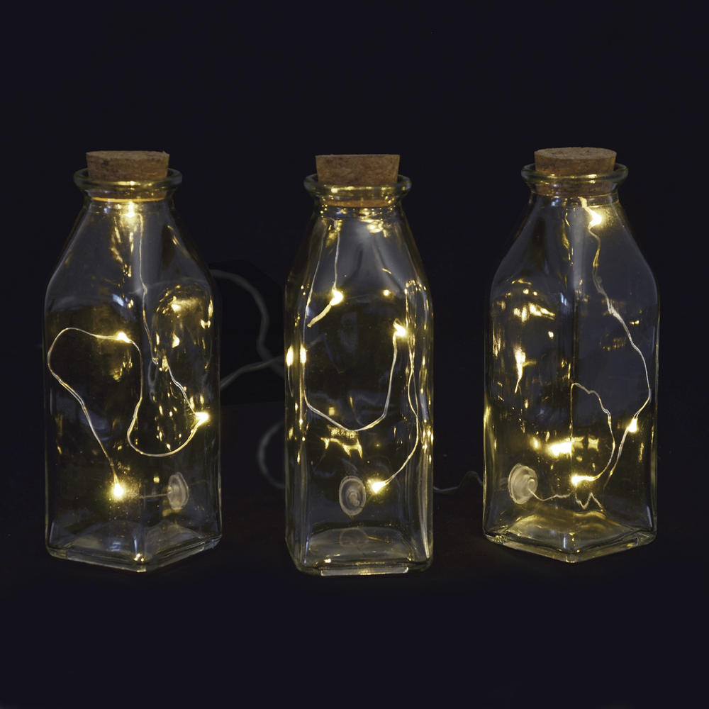 3 bottles led light set glass battery operated static warm for Glass bottles with lights in them