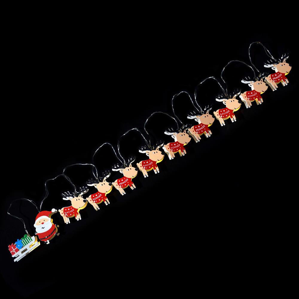 Reindeer Sleigh Santa Christmas 11 LED Battery Light String Set